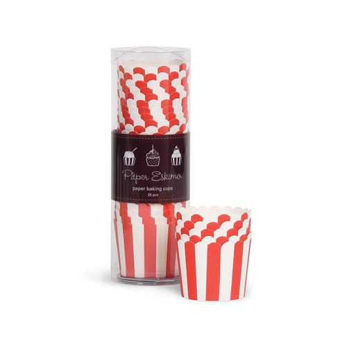 (Paper Eskimo Baking Cups with Red Stripes,)