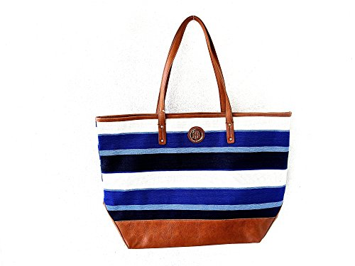 Tommy Hilfiger Stripe Satchel Bag Tote Canvas Navy White Large