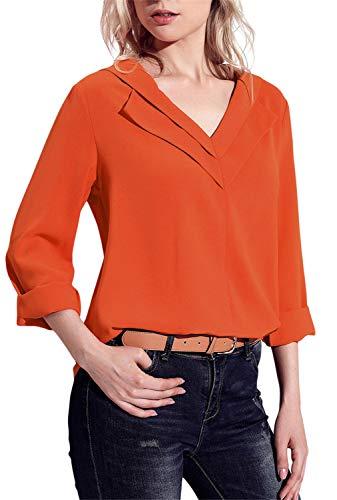 (Dokotoo Womens Tops Amazon Fashion Casual Spring Summer Long Sleeve V Neck Silk Chiffon Tops Loose Blouses T Shirts Orange Large )