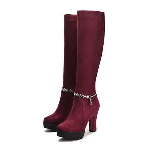 AllhqFashion Mujer Puntera Redonda Sólido Tacón Alto Gamuza(Imitado) Botas Rojo-Cadenas