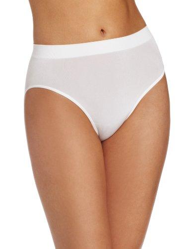 (Wacoal Women's B-Smooth Hi Cut Panty Brief Panty, White, Large)