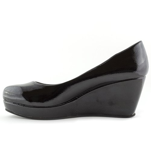 a7c65fc8 HEAVENLY FEET NUTMEG 2 LADIES WOMENS COURT SHOES PATENT WEDGES BLACK: Amazon .co.uk: Shoes & Bags