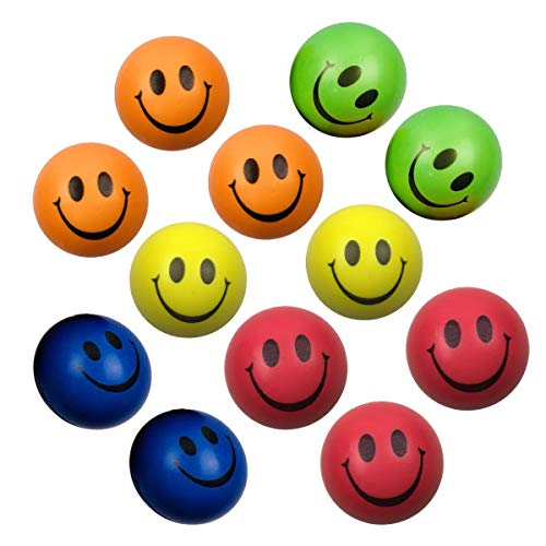 Jofan 12 Piece Smile Stress Balls 2.5 PU Neon Colored Smiley Face Happy Ball Toys for Kids Stress Reliver Stocking Stuffers Party Favors