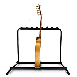 pyle multi guitar stand 7 holder foldable universal display rack portable black. Black Bedroom Furniture Sets. Home Design Ideas