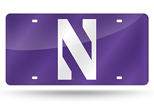 Rico NCAA Northwestern Wildcats Laser Inlaid Metal License Plate Tag, 6'' x 12'', Purple