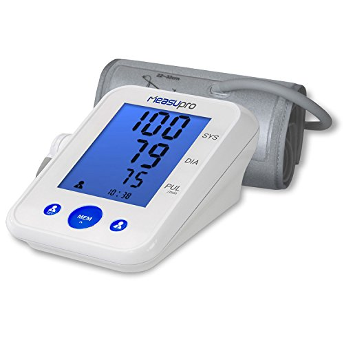 MeasuPro Digital Upper Arm Blood Pressure Monitor and Heart Rate Monitor with Two User Modes, IHB Indicator, Hypertension Color Alert Display, Desktop Design and Memory Recall