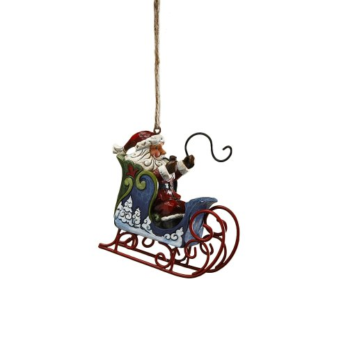 (Enesco Jim Shore Heartwood Creek Santa in Sleigh with Whip Hanging Ornament, 3 Inches)
