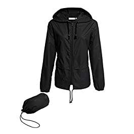 Hount Women's Lightweight Hooded Raincoat Waterproof Packable Active Outdoor Rain Jacket