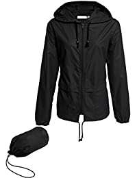 Women's Lightweight Hooded Raincoat Waterproof Packable Active Outdoor Rain Jacket