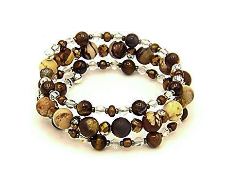 Crystal Memory Wire Bracelet - Brown Zebra Stone, with Swarovski Crystal, Memory Wire Bracelet