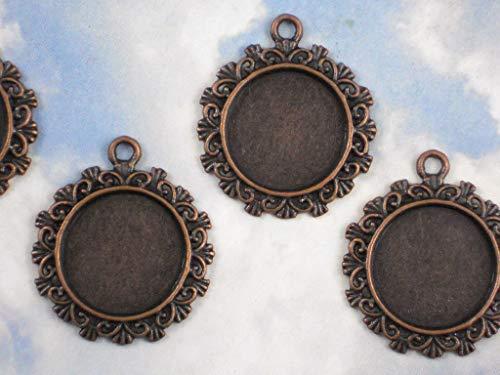 (4 pcs Round Bezel Pendants Mounting Tray Charms Settings Dark Copper Tone)