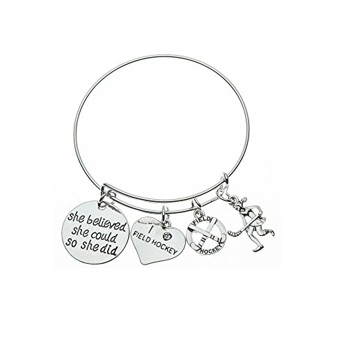 Infinity Collection Field Hockey Charm Bangle Bracelet, Field Hockey She Believed She Could So She Did Jewelry, for Field Hockey Players