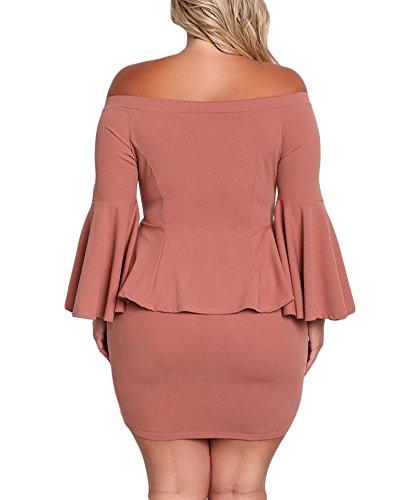The Reddle Peplum Dress Off VINKKE Plus Shoulder Womens Mini Size Party awx11vq