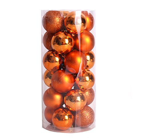 (FinalZ Shatterproof Shiny and Polshed Glossy Christmas Tree Ball Ornaments Decorations Pack of 24 (Orange,)