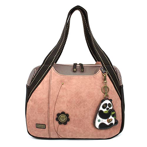 Chala Handbag Bowling Zip Tote Large Bag Pleather Rose Pink Panda Coin ()