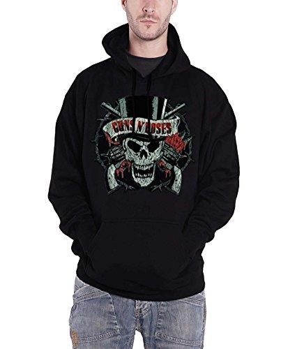 (Guns N Roses Distressed Skull Official Mens Black Pullover Hoodie)