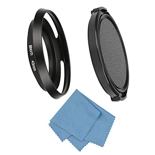 (SIOTI Filmy Wide Angle Vented Metal Lens Hood with Cleaning Cloth and Lens Cap Compatible with Leica/Fuji/Nikon/Canon/Samsung Standard Thread Lens)
