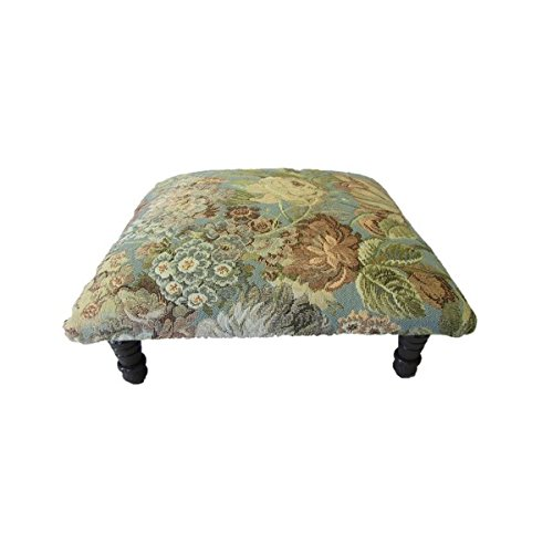 Foot Stool/ Ottomans, Transitional Style Corona Décor Floral Design Hand Woven Mint Fabric/Wood Footstool OSF725. 7 in High x 15 in Wide x 15 in Deep