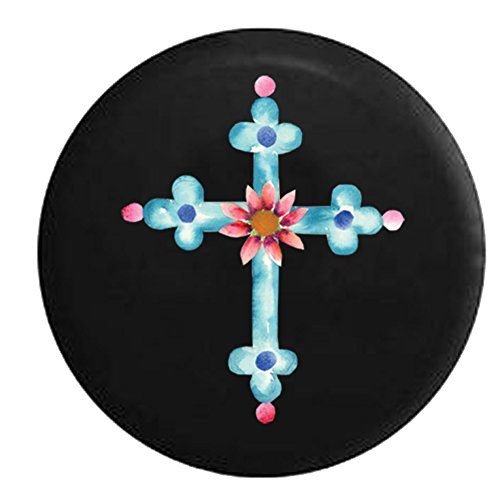 Painted Cross Flower God Religious Love Jeep RV Spare Tire Cover Black 31 in ()