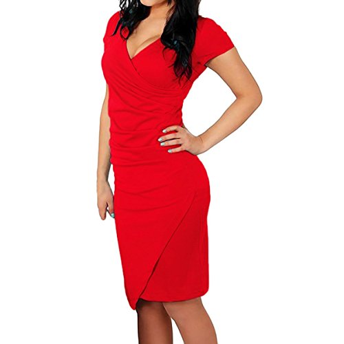 Reinhar Women's Tulip Dress Sheath Ruched Deep V-neck Knee Length Pencil Dresses, Red, TagsizeXL=USsize12-14