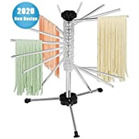 Pasta Drying Rack,Collapsible with Scraper,16 Rods anti slip Pasta Dry Rack-Holding Up to 4.5 Pounds for Noodles and Pastas (Transparent)