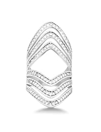 Sterling Silver Channel Set CZ Multi-Row Long Ring