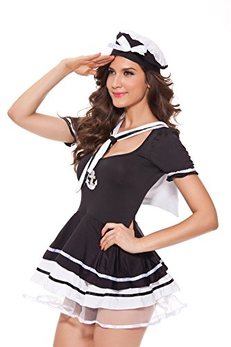 Women's Sexy Uniforms Temptation Cosplay Halloween Costume of Schoolgirl Pirate seaman (Plus Size Anchors Away Sailor Costume)