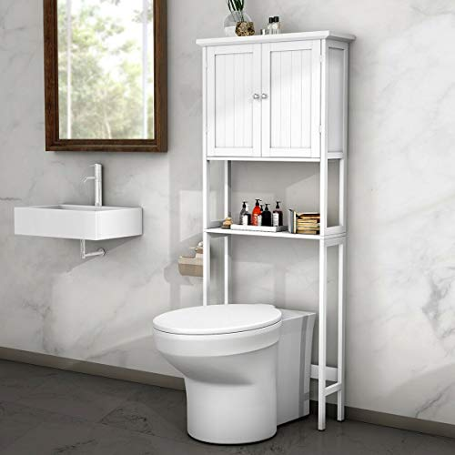 BestComfort Free Standing Over-The-Toilet Space Saver, Bathroom Cabinet Organizer Over Toilet,Storage Cabinet with Adjustable Shelf for Bathroom (Best Over The Toilet Storage)