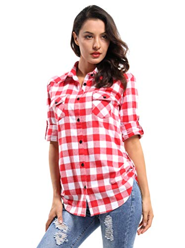 OCHENTA Women's Long Sleeve Button Down Plaid Flannel Shirt M042 Red White - Shirt Check Fitted Red