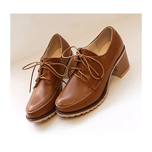 Vintage Women's Round Perforated Wingtip Shoes Oxford Womens Heel Hoxekle With Spring Mid Toes Brown Shoes 5Xxfqnwz0