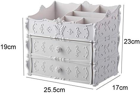 化粧品収納ボックス 家庭用引き出し化粧品収納ボックス化粧台仕上げボックススキンケア棚アクリルサイズピンクホワイト JAHUAJ (Color : White, Size : A)