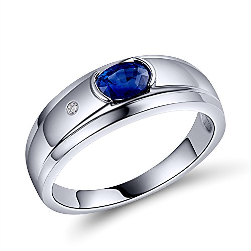 Natural 0.60Ct Sapphire with natural South Africa Diamond 18K Rose Gold Engagement Ring by Ouxi