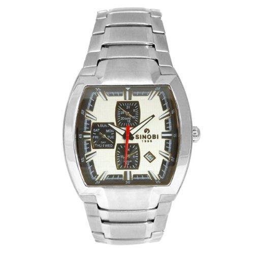 Sinobi SS1003G-1 - Reloj analógico de caballero de cuarzo con correa de acero inoxidable plateada