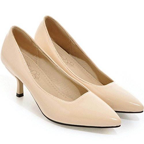 TAOFFEN Women Solid Thin Heel Court Shoes Nude XQPUAvL