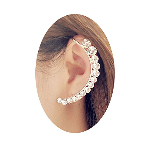 Womens Silver Crystal Non Pierced Stud Earrings Wrap Cuff Clip Earring On Ear Clamp(1 PCS) (Non Pierced Diamond Earrings)