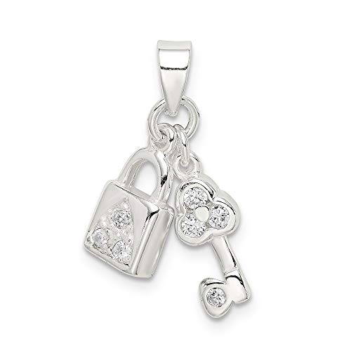 Solid 925 Sterling Silver Key to My Heart Cubic Zirconia CZ Lock & Key Pendant (20mm x 16mm)