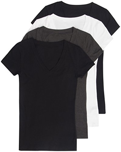 Black Womens Fitted T-shirt - 4 Pack Zenana Women's Basic V-Neck Tees Med Black, Black, White, Charcoal