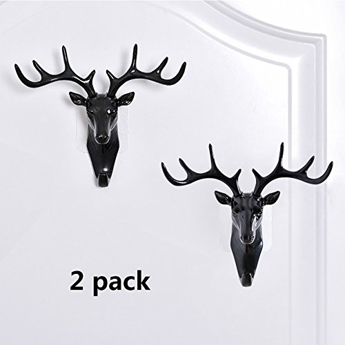 Deer Head Decorative Hook Wall Mounted Rack Set of 2 Made of Resin Lightweight Antler Removable Hook for Key Umbrella Hat Coat Jewelry Animal Shape Holder (2Black) by Bellagione