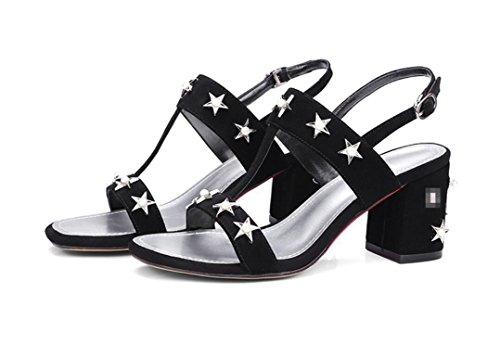 SHFANG Ladies Sandalias de Verano Cuadrado Cabeza Dew Toe Rough heel Cuero Pearl Estrellas Word Band Compras Parte Negro Blanco 7cm Black