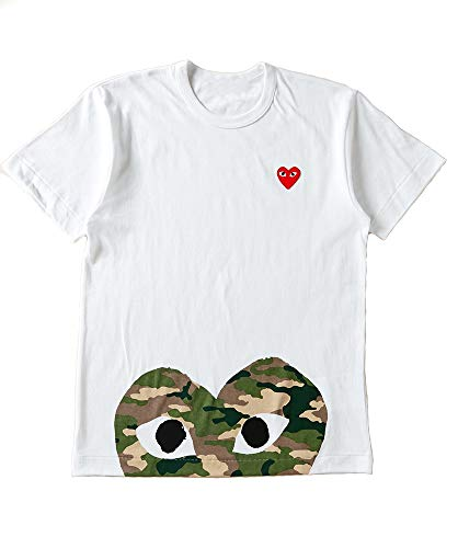 Heart T-shirt Camo White - 122 - Red Dot Heart Polka Dot Tee T Shirt Unisex White Camouflage Camo (S)