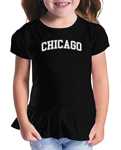 HAASE UNLIMITED Chicago - State Proud Strong Pride Toddler/Youth Ruffle Jersey Tee (Black, 2T (Toddler)) -