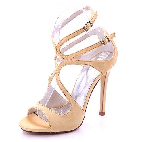 L@YC Tacón Alto 7216-06 de Las Mujeres del Dedo del pie Abierto del satén Nupcial Nupcial tamaño Grande 3-8 Zapatos de la Corte Golden