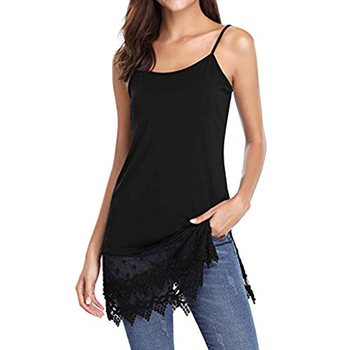 Crop Trimmed (Women Sexy Tank Tops,Suncessful Women Lace Trimmed Camisole Top Shirt Extender Extra Long Tanks Sling Tops Black)