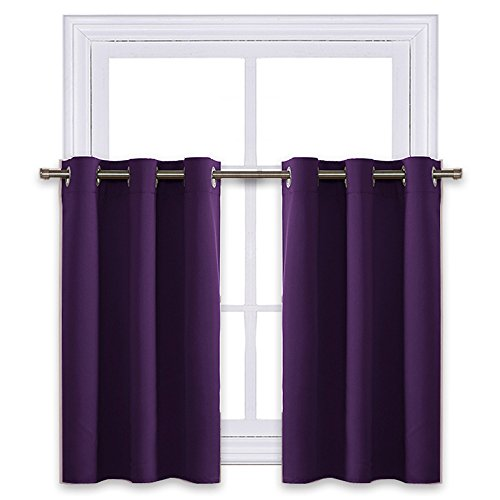 NICETOWN Thermal Insulated Blackout Kitchen Valances- Energy Smart Eyelet Top Blackout Curtain Tiers (2 Panels, 42W by 36L + 1.2 Inches Header, Royal Purple)
