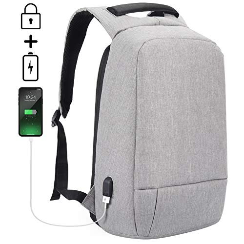 Laptop Backpack, SEEHONOR Anti Theft Travel Backpack with USB Charging Port, Slim Business Computer Backpack Water Resistant Travel School Bags Fits 15.6 Inch Laptop