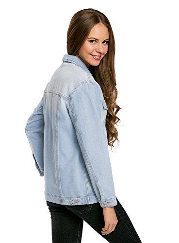 Bleu Jean 7000w oodji Femme Oversize en Ultra Veste nwYvqA8Y
