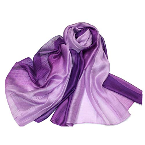 SNUG STAR Cotton Silk Scarf Elegant Soft Wraps Color Shade Scarves for Women (Purple)