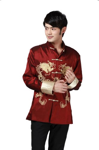 JTC Tai Chi Top Royal Kung Fu Jacket for Men Chinese Shirt Clothing (XXL, Red)