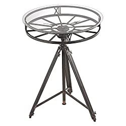 Black Tripod Clock Table with Roman Numerals