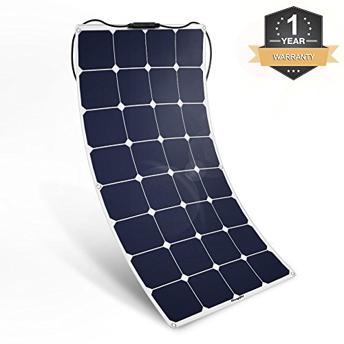 BougeRV 100W 18V 12V Solar Panel Charger SunPower Cell Flexible Ultra Thin with MC4 Connector Charging for RV Travel Trailer Van Truck Car SUV Pontoon Boat Cabin Tent - Compatibility with 18V or Below